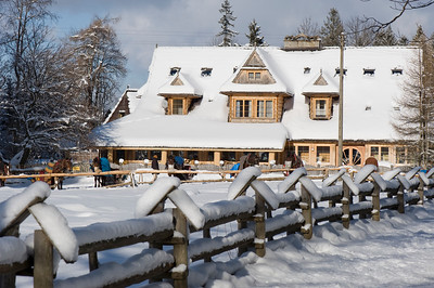 Wooden architecture in Scenic and picturesque Dolina Koscieliska, Zakopane, Tatra Mountains, Podhale Region, Poland