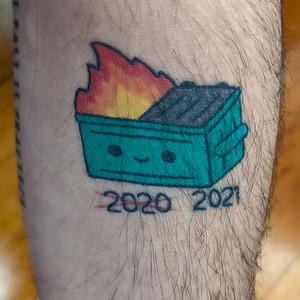 Dumpster Fire tattoo