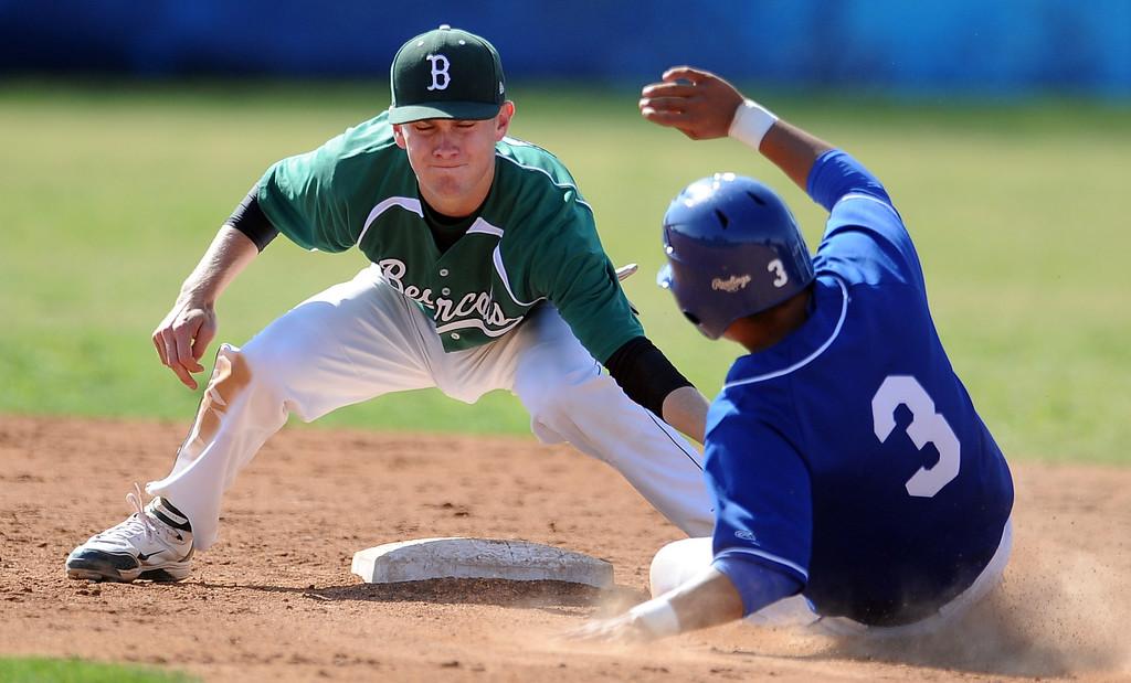 . Bonita second baseman Austin McGilvra tags out La Habra\'s Marcus Lopez (3) in the fourth inning of a prep baseball game at La Habra High School on Tuesday, April 2, 2013 in La Habra, Calif. Bonita won 8-2.  (Keith Birmingham Pasadena Star-News)