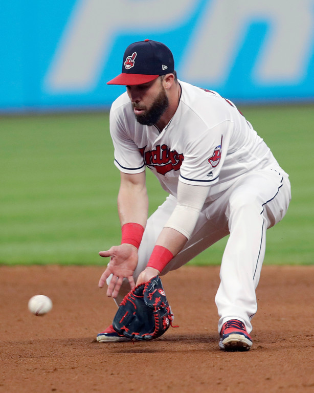 . Cleveland Indians\' Jason Kipnis fields a ball hit by Minnesota Twins\' Joe Mauer during the seventh inning of a baseball game Friday, June 15, 2018, in Cleveland. Mauer was out on the play. (AP Photo/Tony Dejak)