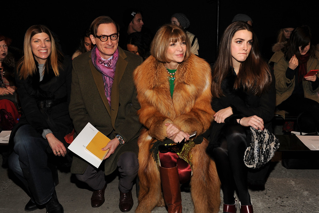 . NEW YORK, NY - FEBRUARY 15:  Hamish Bowles, Anna Wintour and Bee Shaffer attend the Thakoon fashion show at SIR Stage37 on February 15, 2015 in New York City.  (Photo by Craig Barritt/Getty Images)