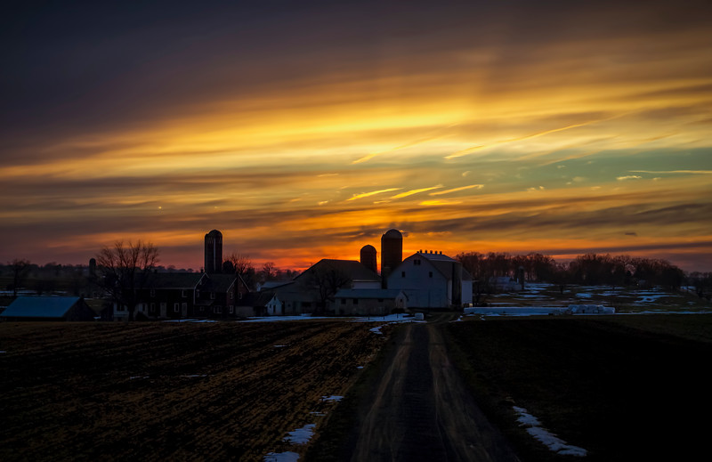 sunset - amish farm brethren church road(p).jpg