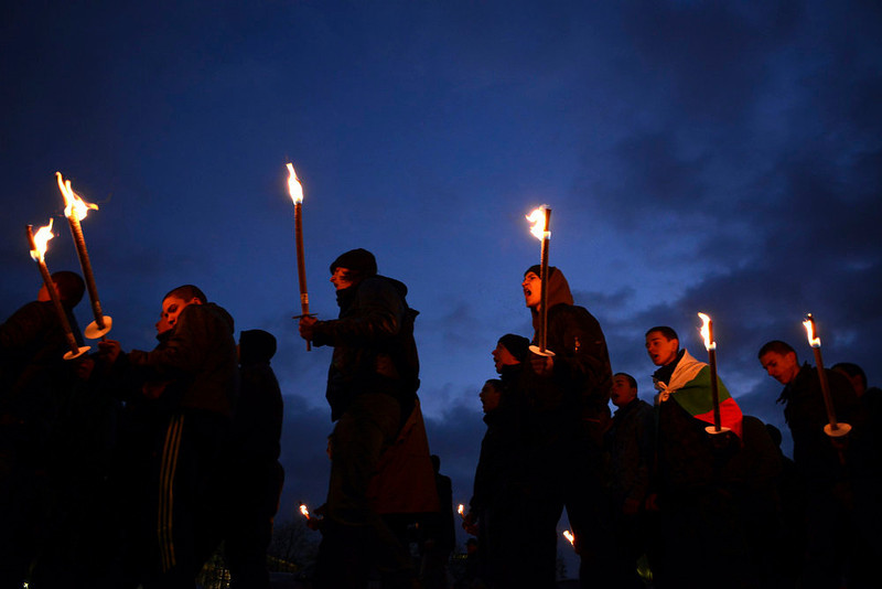 . Members of various nationalist organizations march with torches in memory of former general Hristo Lukov in downtown Sofia February 16, 2013. Lukov was an army commander in World War I and led the former far-right organization, the Union of Bulgarian National Legions. He died on February 13, 1943. REUTERS/Tsvetelina Belutova