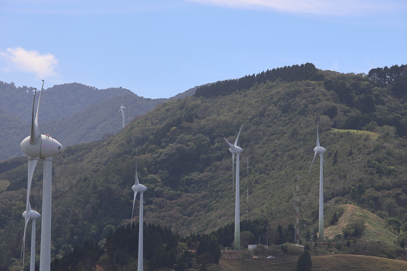 Wind Powered Turbines in a Mountain - source of clean energy