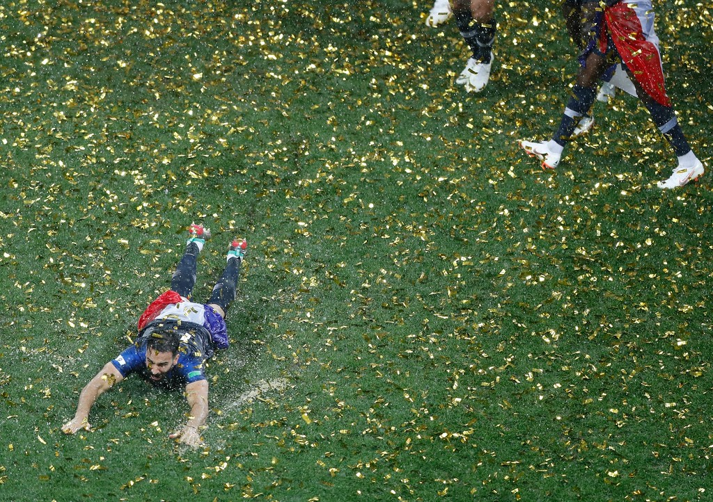 . France\'s Adil Rami celebrates after the final match between France and Croatia at the 2018 soccer World Cup in the Luzhniki Stadium in Moscow, Russia, Sunday, July 15, 2018. France won the final 4-2. (AP Photo/Frank Augstein)