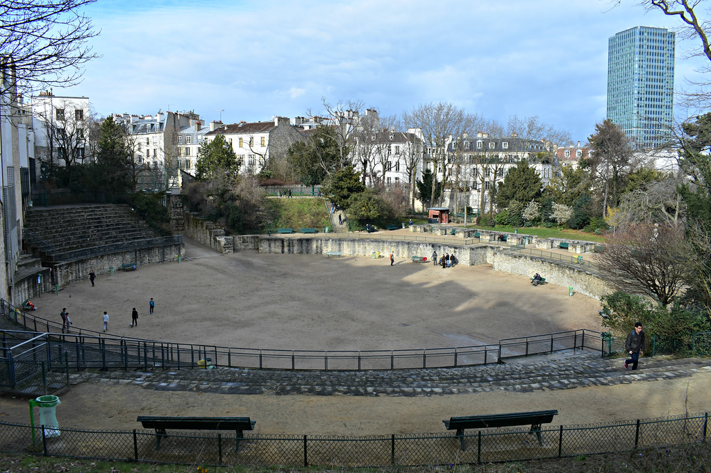 Roman ruins of Les Arènes de Lutèce in Paris, France