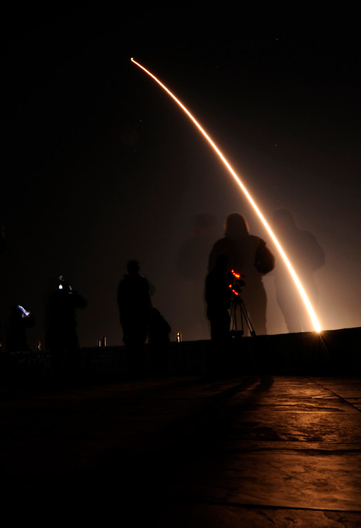. This time exposure photo released by the U.S. Air Force showing an Air Force Global Strike Command Minuteman III intercontinental ballistic missile being launched on Wednesday, Nov. 14, 2012. The military says an unarmed intercontinental ballistic missile was blasted from a silo at the West Coast\'s Vandenberg Air Force Base and successfully reached a target area 4,200 miles away in the Pacific Ocean. (AP Photo/U.S. Air Force, Levi Riendeau)