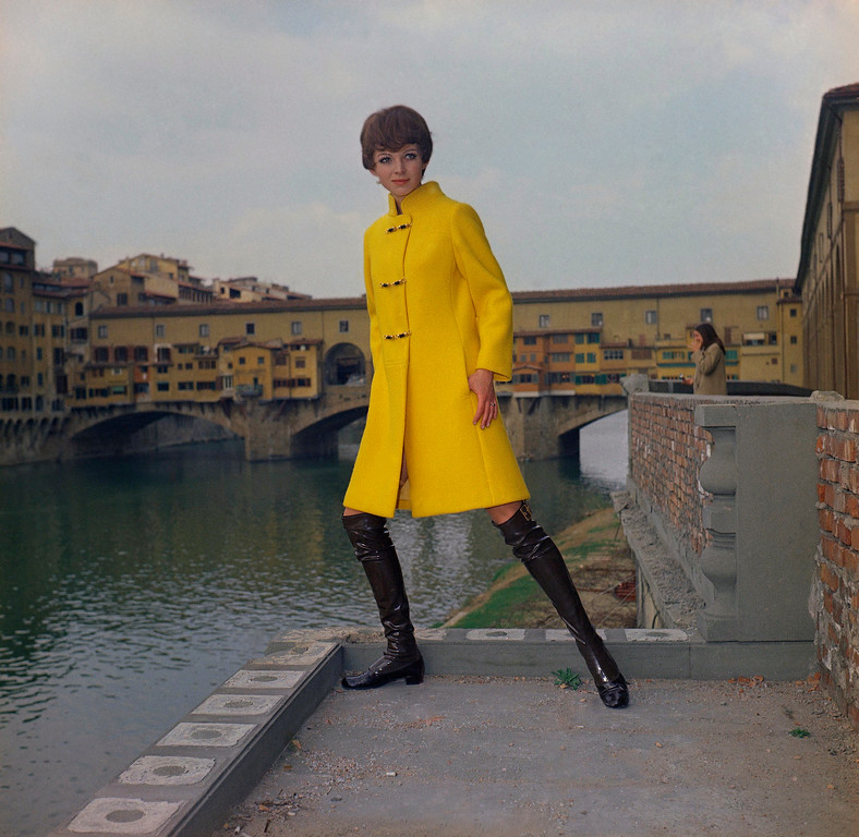 . A single-Breasted overcoat of gold ? yellow woollen double Jersey, with an original lacing, April 17, 1969. (AP Photo)