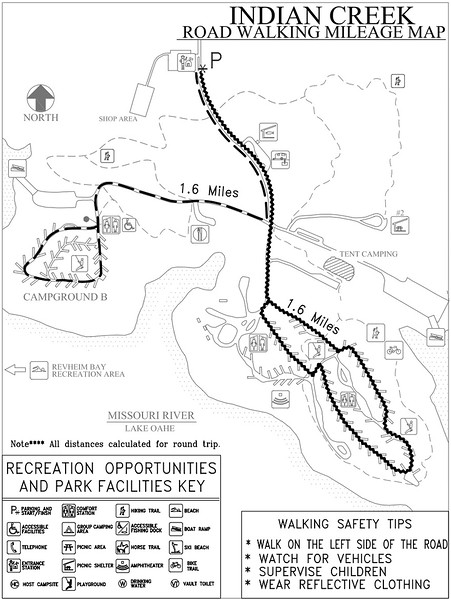 Indian Creek Recreation Area (Road Walking Map)