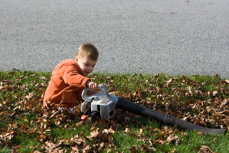 K.C. preps the leaf blower for service.