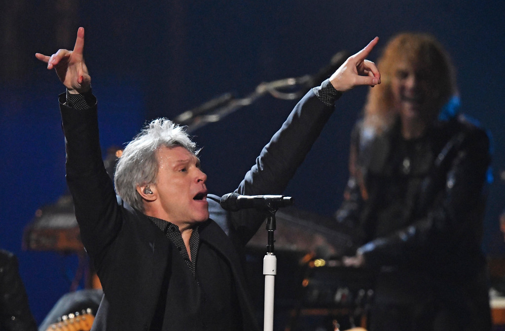. Jon Bon Jovi performs during the Rock and Roll Hall of Fame induction ceremony, Saturday, April 14, 2018, in Cleveland. (AP Photo/David Richard)