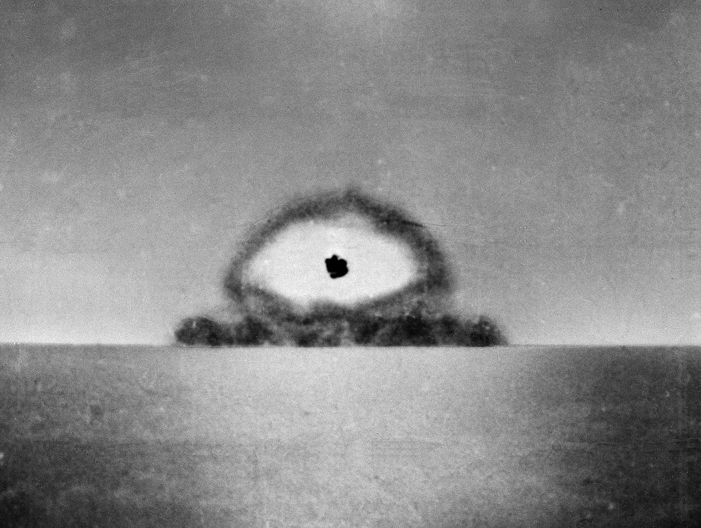 . This photo made by a U.S. Army automatic newsreel camera, shows the test explosion of the world\'s first atomic bomb at Alamagordo, N.M., on July 16, 1945. The test, known as Trinity, of the plutonium bomb capped a $2 billion effort, unprecedented in those times. (AP Photo)