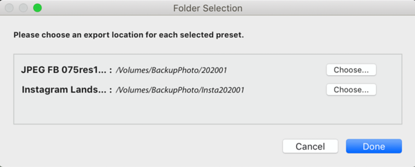 Export Location set for Multiple Presets
