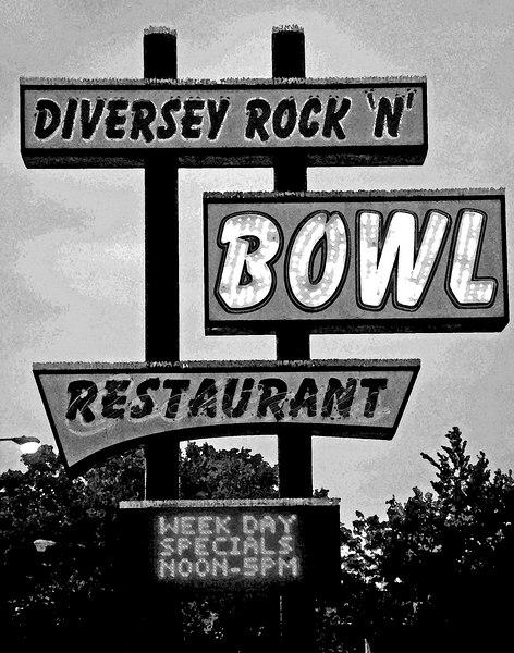 Diversey Rock N Bowl, Chicago  Watercolor, Black & White