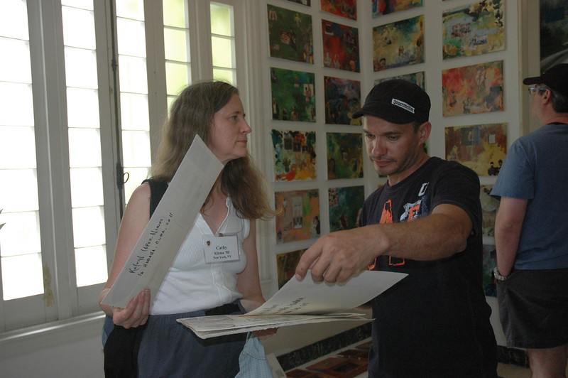 Cathy with artist Kelvin Lopez - Leslie Rowley