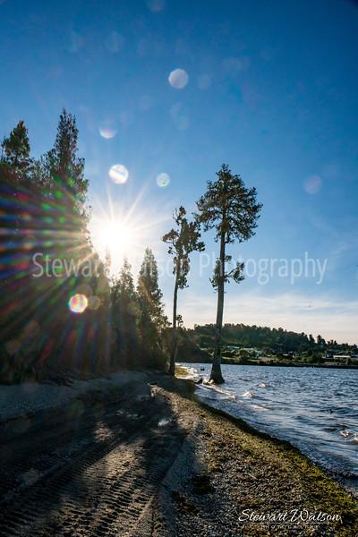 Lake Brunner sun flare