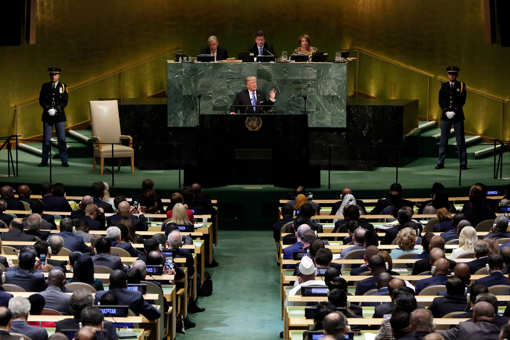 . U.S. President Donald Trump addresses the 72nd session of the United Nations General Assembly, at U.N. headquarters, Tuesday, Sept. 19, 2017. (AP Photo/Richard Drew)