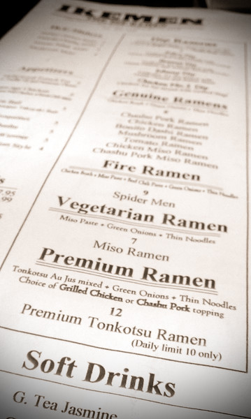 Premium Ramen? Ikemen pushes dip ramen, but Valerie and I both feel the pull of the Premium Tonkotsu Ramen with Chashu Pork topping
