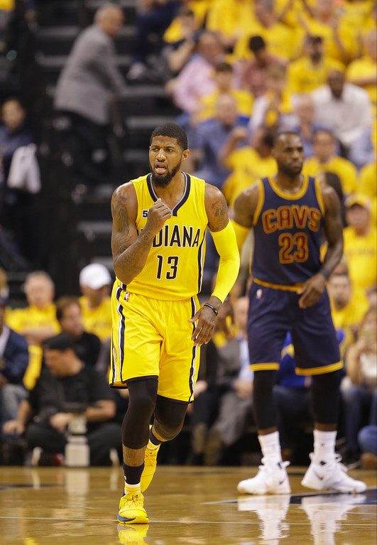 . Indiana Pacers\' Paul George in action during the first half in Game 3 of a first-round NBA basketball playoff series against the Cleveland Cavaliers,Thursday, April 20, 2017, in Indianapolis. (AP Photo/Michael Conroy)