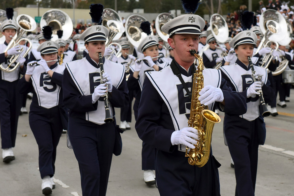 . The Penn State marching band performs during the 128th Rose Parade in Pasadena, Calif., Monday, Jan. 2, 2017. (AP Photo/Michael Owen Baker)