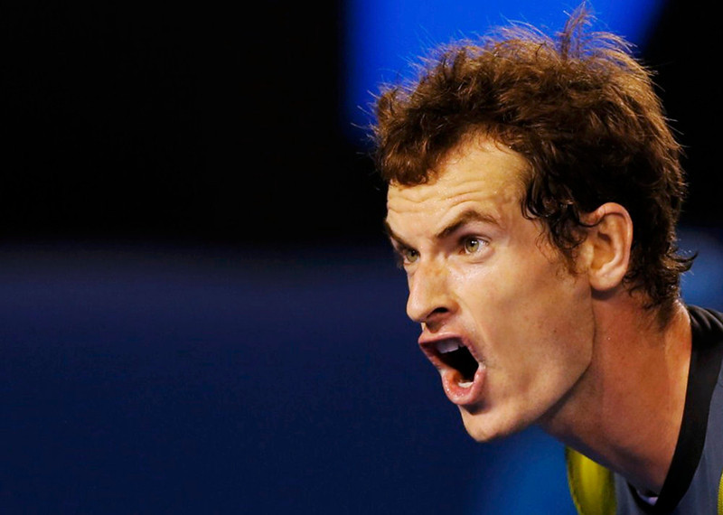 . Andy Murray of Britain reacts during his men\'s singles final match against Novak Djokovic of Serbia at the Australian Open tennis tournament in Melbourne January 27, 2013.  REUTERS/Damir Sagolj