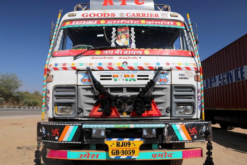 Indian truck drivers love to lavishly decorate their trucks with all sorts of bling!