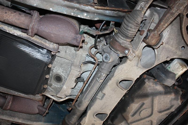 Crack in alloy subframe at rack mounting bolt