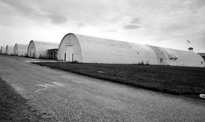 A row of storage warehouses at the naval base : Green Cove Springs, Florida in 1962. State Archives of Florida, Florida Memory, http://floridamemory.com/items/show/80775.