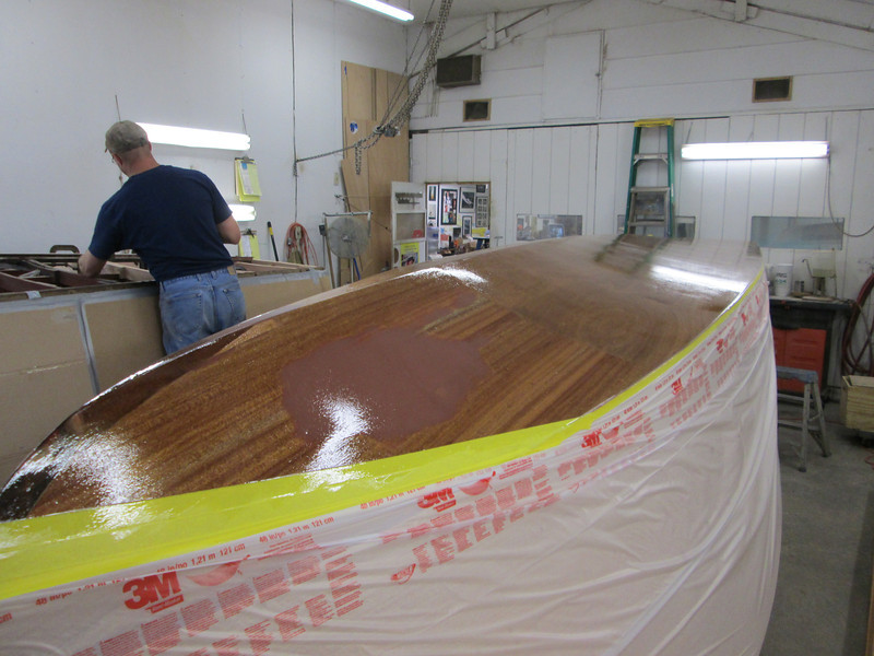 Starboard view epoxy applied to the bottom.