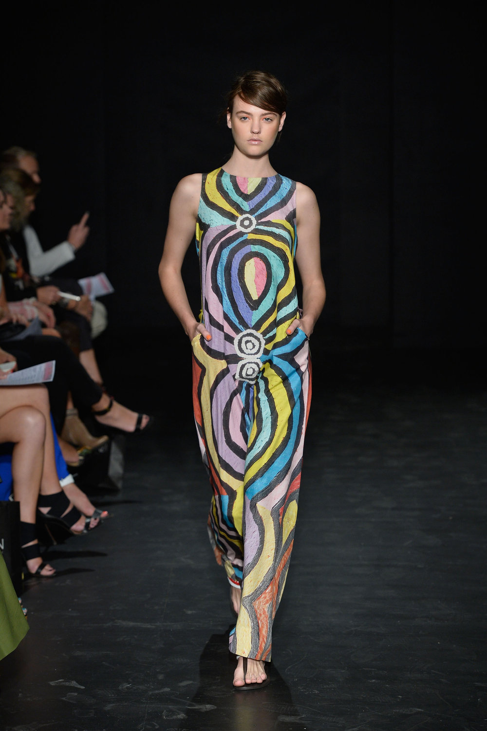 . A model showcases designs on the runway at the Roopa Pemmaraju show during Mercedes-Benz Fashion Week Australia Spring/Summer 2013/14 at Carriageworks on April 8, 2013 in Sydney, Australia.  (Photo by Stefan Gosatti/Getty Images)