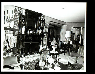 James E. Stewart Sr. home front room with fireplace.