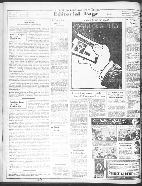 Daily Trojan, Vol. 28, No. 7, September 28, 1936