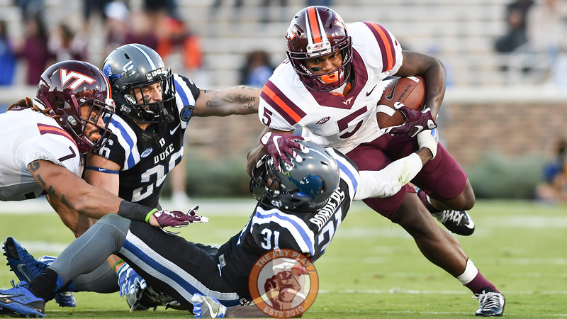 Virginia Tech wide receiver Cam Phillips (5) makes a move down the sideline following his reception. (Michael Shroyer/TheKeyPlay.com)