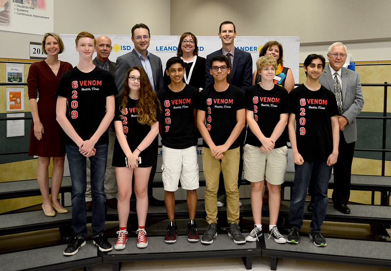 Vandegrift High School's 6209 Venom robotics team, recognized for advancing to the FIRST Robotics World competition.