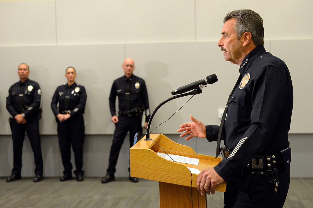 . LAPD Chief Charlie Beck holds a news conference Tuesday to discuss the findings regarding the eight Los Angeles police officers who violated department policy when they opened fire on a pair of women who were delivering newspapers in Torrance during the manhunt for fired LAPD Officer Christopher Dorner.  Beck held the news conference at the LAPD Administration Building February 4, 2014.(Andy Holzman/Los Angeles Daily News)
