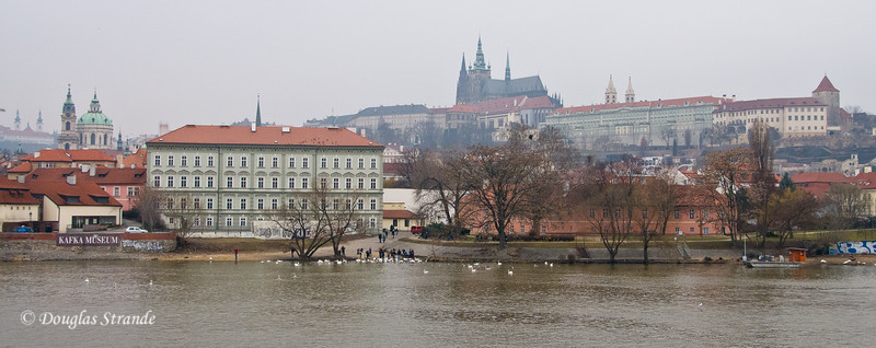 Looking across the Vlatava River  toward Prague Castle