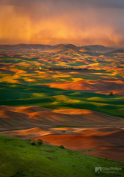 """""""A storm Brewing Over the Palouse""""  An evening storm over the Palouse in early spring. Palouse Hills, eastern Washington State"""