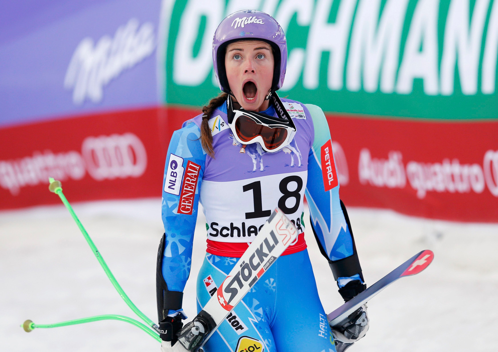 Description of . Tina Maze of Slovenia reacts after learning that her competitor Lindsey Vonn of the U.S. did not complete the race, during the women's Super G race at the World Alpine Skiing Championships in Schladming February 5, 2013.  REUTERS/Leonhard Foeger