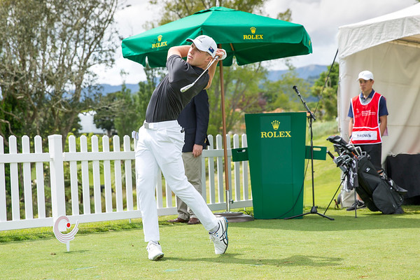 Luke Brown from New Zealand hitting off the 1st tee on Day 1 of competition in the Asia-Pacific Amateur Championship tournament 2017 held at Royal Wellington Golf Club, in Heretaunga, Upper Hutt, New Zealand from 26 - 29 October 2017. Copyright John Mathews 2017.   www.megasportmedia.co.nz