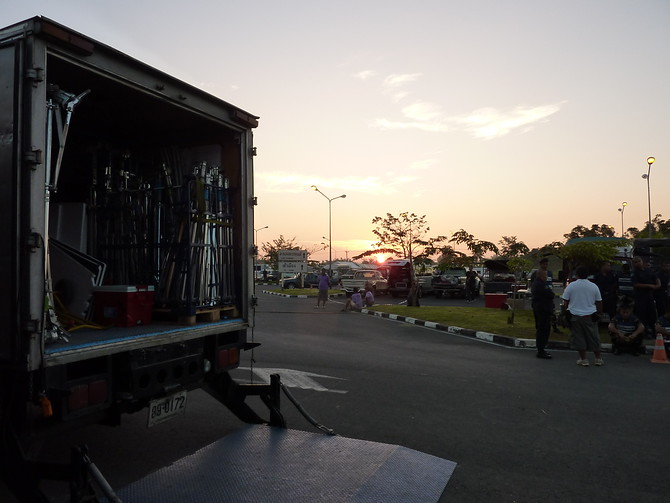 Early morning start on set for The Impossible in Surat Thani.