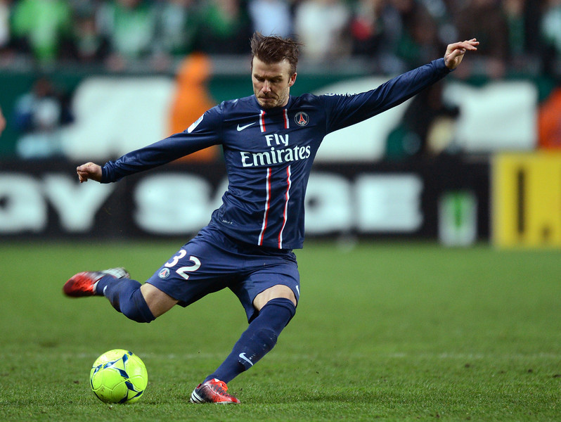 . Picture taken on March 17, 2013 of Paris\' English midfielder David Beckham kicking the ball during the French L1 football match Saint-Etienne (ASSE) vs Paris Saint-Germain (PSG) on March 17, 2013 at the Geoffroy Guichard stadium in Saint-Etienne.  PHILIPPE DESMAZES/AFP/Getty Images