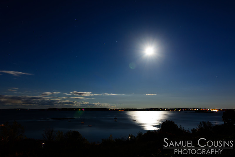 The moon and stars over Casco Bay.