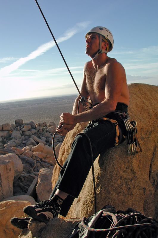 Glowing in the sunset, Terry belaying Jay Chesterfield King, 5.11a The Cornerstones, High Desert