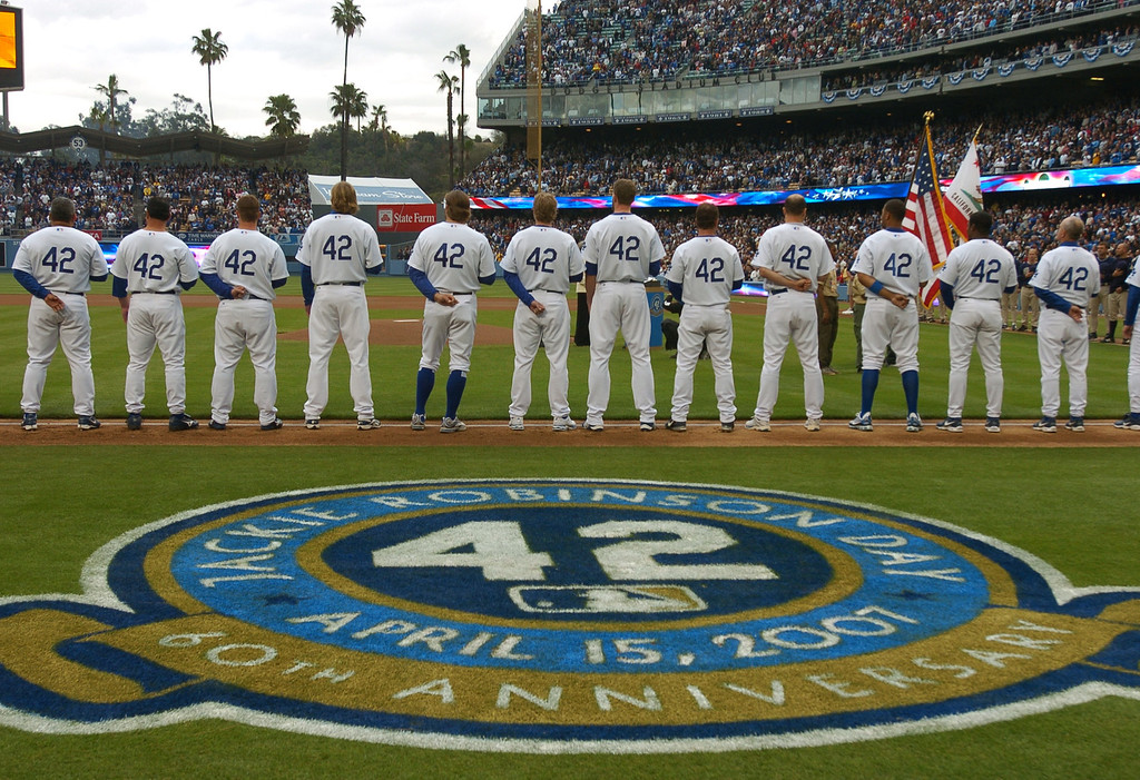 . Dodger players all wear #42 on their jerseys in honor of Jackie Robinson at Dodger Stadium against the San Diego Padres, Sunday April 15, 2007. (Michael Owen Baker/Los Angeles Daily News)