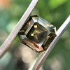 4.57ct Fancy Dark Greenish Yellow Brown Asscher Cut Diamond GIA 33
