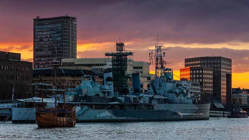 The Matthew and HMS Belfast