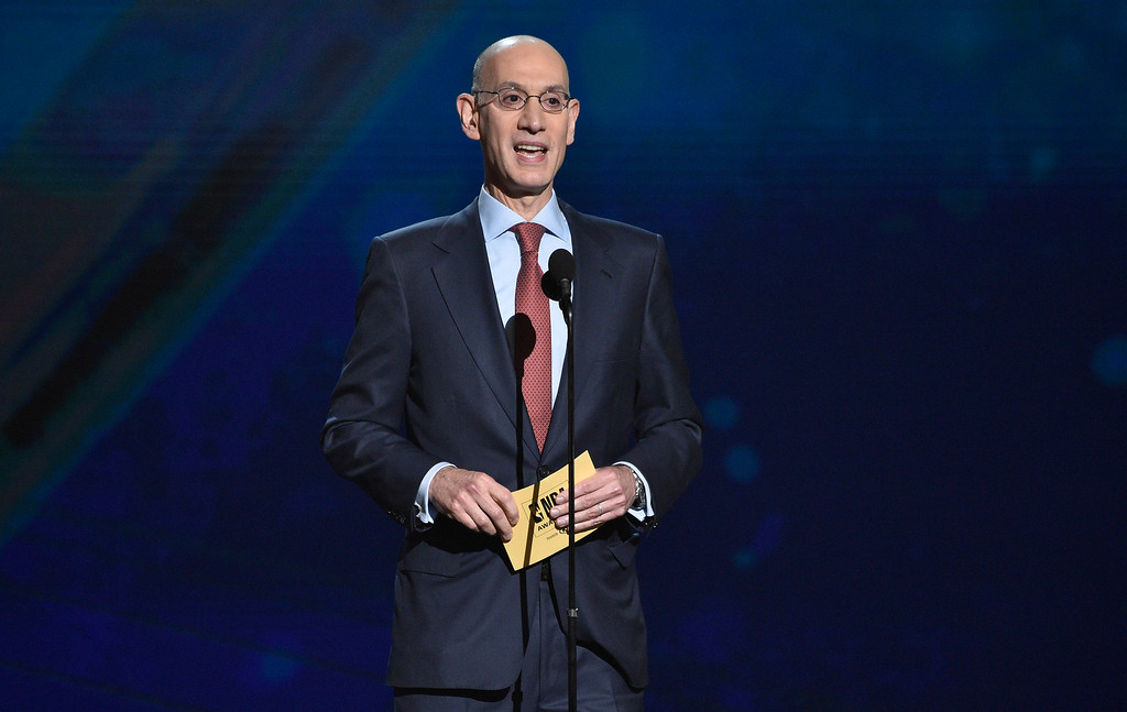. NBA commissioner Adam Silver presents the most valuable player award at the NBA Awards on Monday, June 25, 2018, at the Barker Hangar in Santa Monica, Calif. (Photo by Chris Pizzello/Invision/AP)