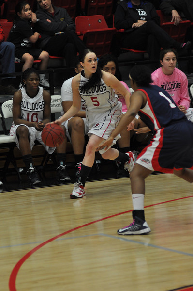 Lana Doran drives the ball against Liberty University on February 23, 2013.