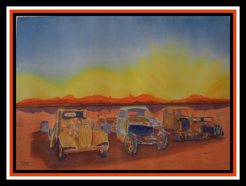 Desert Junk Yard, 10x14 watercolor, completed aug 27. 2013.