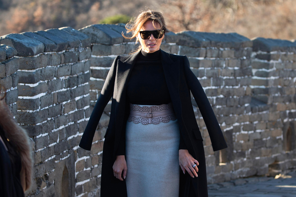 . U.S. first lady Melania Trump walks along the Mutianyu Great Wall section in Beijing Friday, Nov. 10, 2017. Mrs. Trump toured China�s famed Great Wall at Mutianyu, where she rode a cable car to a watchtower, signed a guestbook and strolled along a stretch of the wall for about half an hour with a small group of aides and security officers. (AP Photo/Ng Han Guan)